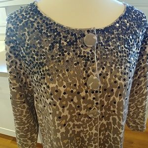 CHICO'S LEOPARD PRINT Sequins Cardigan Sweater